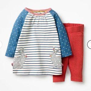 NWT Mini Boden Baby Appliqué Dress Set